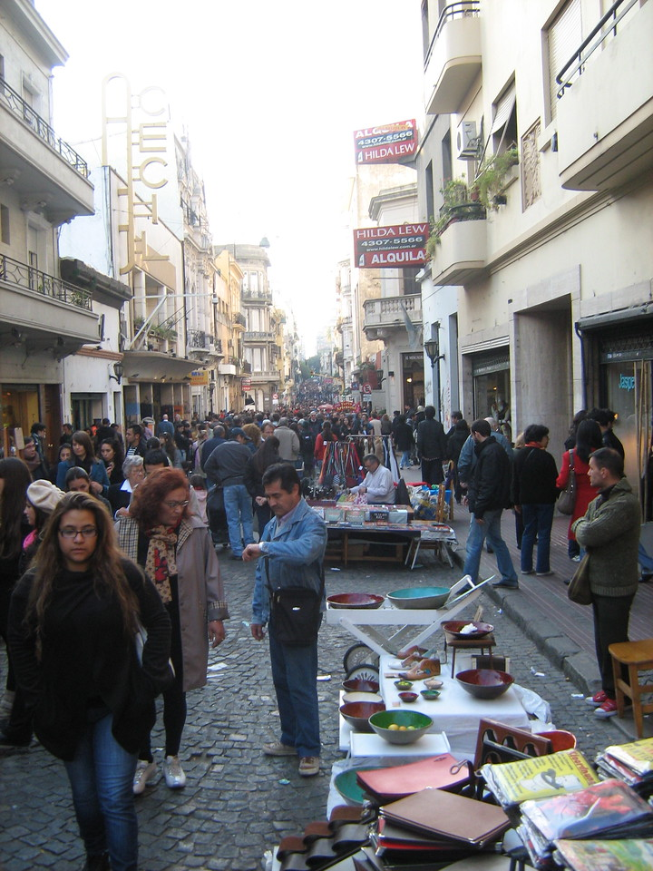 Crowds packed the narrow street in San Telmo for fair on Sunday.