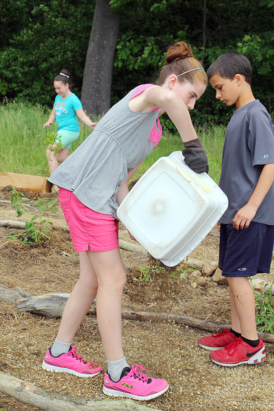 John R. Briggs fifth grader Katelyn Beddia, 11, works on putting down some rocks for the paths in the schools garden on Wednesday morning in Ashburnham. SENTINEL & ENTERPRISE/JOHN LOVE