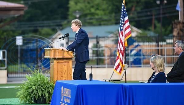 Jacksonville High School Principal Ben Peacock addresses seniors at the school's graduation ceremony on Tuesday, June 2.