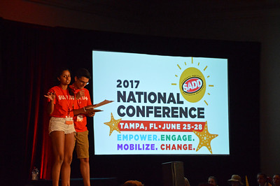 Kirtana Choragudi - SADD National Student of the year, Bryan Delaney, Student of the year Emeritus open the ceremonies for the conference