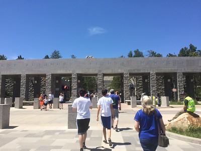 Entering Mount Rushmore National Park (Jordan, Jack, Mr. Werner and Ms. Martin) (photo by Chris)