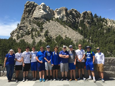 We made it to Mount Rushmore (L-R : Ms. Martin, Ben, Jordan, Jack, Harrison, Shaughn, Seth, Mr. Werner, Chris, Ian, Preston, and Jake)