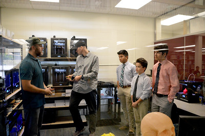 Tiny, but jammed packed with printers - Advanced Visualization Center (USF's 3-D Print Lab) Tour  Howard Kaplan (Director), Print tech, Viet Ho, Frankie Machado, and Joey Santana