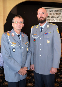 Csm Fred Gersen and Col Hans-Peter Fischer - German Officers supported the Memorial service bridging the divide between Holocaust survivors and the country they were from