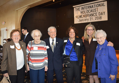 Survivor Helen Kalfus, Survivor Elsa Dreels, Vincent Genovese, Aviva Rep, Rabbi Anne Feibelman, and Survivor Carolyn Kaplan