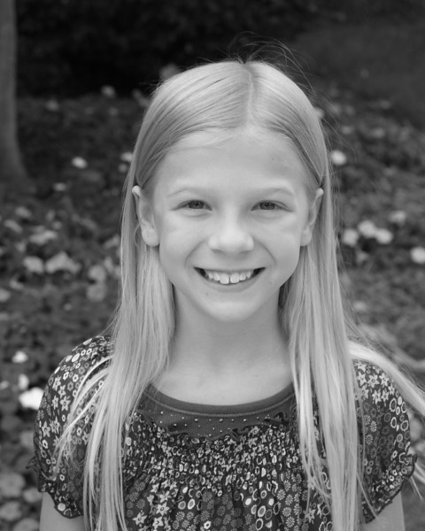 Julia's 4th grade photo - black & white