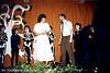 Britt Claes tijdens een optreden 'Orpheus & Eurydice' in 1985 tesamen met organisator Mr. Yperman (leraar Latijn)
