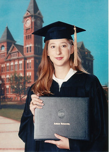 Graduation picture with Samford Hall in the background.
