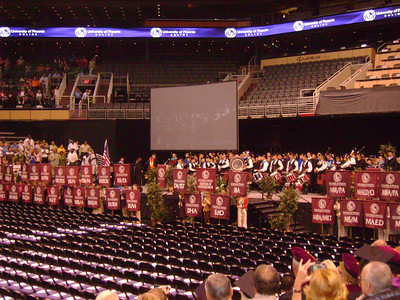 Parade of flags for each of the degree programs.