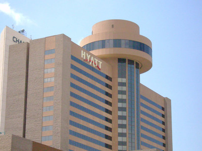 The Hyatt, the hotel where we were staying at and planning to have dinner in the revolving resturant.