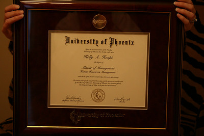 Close up of Kelly's degree newly framed.