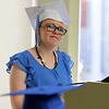 Leominster Center for Excellence graduate Kelsey Rodriguez address the crowd and her fellow graduates at the schools first graduation on Thursday afternoon. SENTINEL & ENTERPRISE/JOHN LOVE