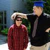 Leominster Center for Excellence graduate Alex Ferguson, on right, has some fun with his friend and fellow student sophomore Sarah Flynn just before the schools first graduation on Thursday afternoon. SENTINEL & ENTERPRISE/JOHN LOVE