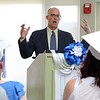 Leominster Center for Excellence guest speaker the Co-Executive Director of The Big Picture Learning Center Andrew Fishman addresses the crowd at the schools first graduation on Thursday afternoon. SENTINEL & ENTERPRISE/JOHN LOVE