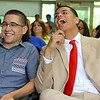 Leominster Center for Excellence graduates Vinny D'Innocenzo and  Raf Martinez Velez have a good laugh as they watch a slideshow about their time at the school during the schools first graduation on Thursday afternoon. SENTINEL & ENTERPRISE/JOHN LOVE