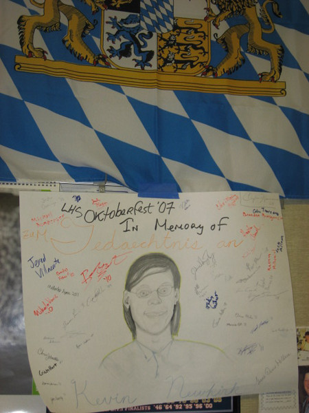 LHS Oktoberfest in 2007 was dedicated to the memory of Kevin Newkirk, who passed away last winter. Art teacher Gina Bernardini and her student Clayton Hosmann worked up a nice sketch of Kevin for the occasion.