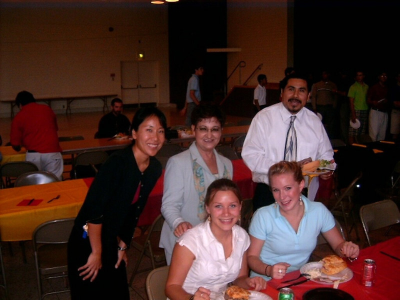 Department Chair Teri Yamauchi and Spanish teachers Ms. Alirian Mejia and Sr. Amado Machorro with German exchange students Ida and Claudia
