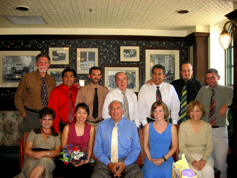 Language department at year-end luncheon. Front row, left to right, Alirian Mejia, Teri Yamauchi, Bill Sanchez, Mychela Burke, Geri Eckert; rear, left to right, Dave McClave, Amado Machorro, Eric Beuzet, Ed Castellanos, Concepcion Contreras, Pablo Pedroarias, and Cedric Ebiner. May 2007.
