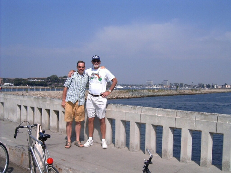 Two exchange coordinators Thomas Driver and Dave McClave in the middle of bike trip along Pacific Ocean in September 2006.
