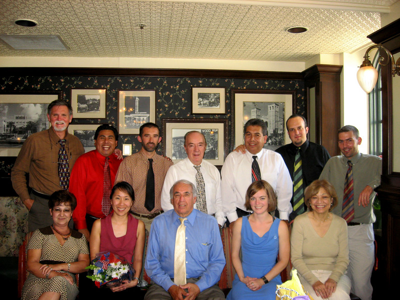 End-of-year luncheon and changing of chairmanship from Teresa Yamauchi, seated second from left, to David McClave, standing extreme left. Department celebrated another great year at LHS.