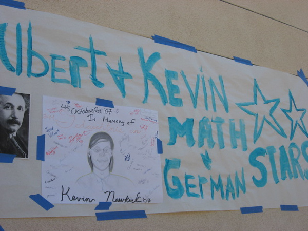 Kevin excelled in two fields in which Dr. Einstein left his mark:  Math and German.