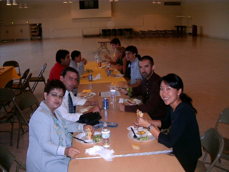 Spanish teacher Ms. Alirian Mejia, Latin/French teacher M. Cedric Ebiner, French teacher M. Eric Beuzet, and Chairwoman and Latin teacher Ms. Teri Yamauchi at Welcome Luncheon for German exchange students, September 2006, hosted by language clubs of department.