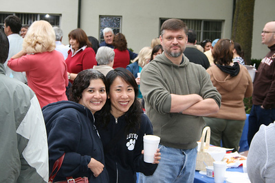Former department chair Teri Yamauchi (middle) with AnneMarie Vander Wal and Andrey Aristov.