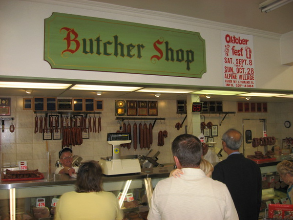 The butcher shop at Alpine Village, which supplied us with three kinds of Wurste--Bratwurst, Weisswurst, and Wienerwurst.