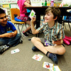 "James Gerrity is happy with his answer during a game of rhyming GO FISH as David Plascencia Galvan, left,  waits his turn during the 2nd graders work on rhyming words in the literacy portion of the day's curriculum in Brieda Gessaman's class at Whittier Elementary on Tuesday  May 22, 2012. For more photos go to  <a href=""http://www.dailycamera.com"">http://www.dailycamera.com</a><br /> Photo by Paul Aiken <br /> Brieda Gessaman"