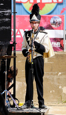 Don Knight | The Herald Bulletin<br /> Lapel's Justin Tychek performs a solo during Indiana State Fair Band Day on Saturday.