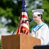 Valedictorian Clara Shaffter addresses her classmates during the Leominster High School graduation ceremony at Doyle Field on Saturday morning. SENTINEL & ENTERPRISE / Ashley Green
