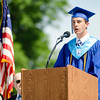 Class President Nicholas Valiton addresses his classmates during the Leominster High School graduation ceremony at Doyle Field on Saturday morning. SENTINEL & ENTERPRISE / Ashley Green