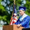 Salutatorian Juan Bermudez addresses his classmates during the Leominster High School graduation ceremony at Doyle Field on Saturday morning. SENTINEL & ENTERPRISE / Ashley Green