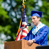 Salutatorian Juan Bermudez addresses his classmates during the Leominster High School graduation ceremony at Doyle Field on Saturday morning. SENTINEL & ENTERPRISE / Ashley Green