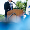 Principal Dr. Christopher Lord welcomes guests to the Leominster High School graduation ceremony at Doyle Field on Saturday morning. SENTINEL & ENTERPRISE / Ashley Green