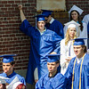 Graduates line up while they wait for the start of the Leominster High School graduation ceremony at Doyle Field on Saturday morning. SENTINEL & ENTERPRISE / Ashley Green