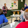 Charry Hughes, advisor for the Gay/Straight Alliance, speaks to students during a meeting with club members and Principal Dr. Christopher Lord to discuss the necessity of gender neutral bathrooms at Leominster High. SENTINEL & ENTERPRISE / Ashley Green