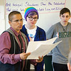 Charry Hughes, advisor for the Gay/Straight Alliance, Mel Ellis and Lex Colvin speak during a meeting with club members and Principal Dr. Christopher Lord to discuss the necessity of gender neutral bathrooms at Leominster High. SENTINEL & ENTERPRISE / Ashley Green