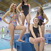 Pictured is the Leominster High School girls swim team members that will be going to the State championships. From left is senior Alexi Regopoulos, senior Emily Lussier, freshman Maggie Loucraft and freshman Samantha Deznola, sitting. SENTINEL & ENTERPRISE/JOHN LOVE