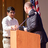 Smit Patel receives the Honors Algebra 1 award during the Leominster High School undergraduate awards ceremony on Tuesday evening. SENTINEL & ENTERPRISE / Ashley Green