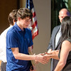 Nicholas Rasmussen receives the Elizabeth Haskins Honorable Mention award during the Leominster High School undergraduate awards ceremony on Tuesday evening. SENTINEL & ENTERPRISE / Ashley Green