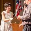 Katie Charpentier receives the Global Perspectives award during the Leominster High School undergraduate awards ceremony on Tuesday evening. SENTINEL & ENTERPRISE / Ashley Green