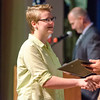Molly Jacob receives the Current Problems II award during the Leominster High School undergraduate awards ceremony on Tuesday evening. SENTINEL & ENTERPRISE / Ashley Green