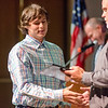 Jack Cordio is presented the U.S. History II award during the Leominster High School undergraduate awards ceremony on Tuesday evening. SENTINEL & ENTERPRISE / Ashley Green