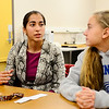 Leominster High School junior Kyrah Altman, 17, (left) talks about their plans for the upcoming 26 Angels Candlelight Vigil on Dec. 21 at 6 p.m. at Monument Square in Leominster to commemorate the 1-year-anniversary of the Sandy Hook tragedy as junior Alex Buckman, 16, looks on, Tuesday.<br /> SENTINEL & ENTERPRISE / BRETT CRAWFORD