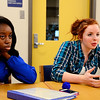 Leominster High School junior Lauren Wilkins, 17, (right) talks about the plans for the upcoming 26 Angels Candlelight Vigil on Dec. 21 at 6 p.m. at Monument Square in Leominster to commemorate the 1-year-anniversary of the Sandy Hook tragedy as junior Plamedi Makelela, 16, looks on, Tuesday.<br /> SENTINEL & ENTERPRISE / BRETT CRAWFORD