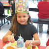 Debbie Wachter/NEWS<br /> Kindergarten student Myah Jackson gets to celebrate her birthday in a brand new school. A chicken wrap and salad were on the lunch menu.