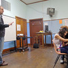 Longsjo Middle School seventh grade social studies teacher Matt Lamey instructs his students in class on Friday morning just before they headed down to the library to use the computers. SENTINEL & ENTERPRISE/JOHN LOVE