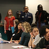 "Members of Lowell High's Student Voice group, rear (including from left, Neyder Fernandez, Patricia Rose Prout, Jaeda Turner and Shaveen Gachau) are featured at ""Leaders for Increasing Voice in Education"" meeting hosted by the Great Schools Partnership and the Nellie Mae Education Foundation. Seated, from left: Melissa Anaya of Lawrence High Learning Center, Jessica Edwards, LHLC staff, and Zoe Rosa and Elvis Acosta, both LHLC students. (SUN/Julia Malakie)"