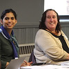 """Glennys Sanchez, left, and Andi Summers, both from Great Schools Partnership, at """"Leaders for Increasing Voice in Education"""" meeting hosted by the Great Schools Partnership and the Nellie Mae Education Foundation.  (SUN/Julia Malakie)"""